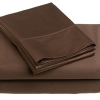 Renaissance 600-Thread-Count Cotton Sateen Queen Sheet Set, Chocolate