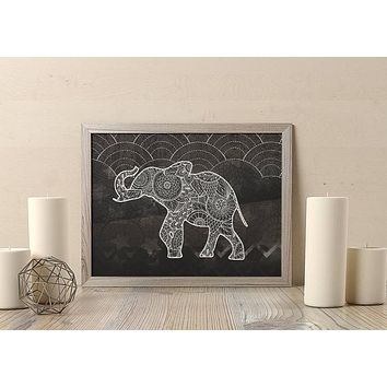 Reiki Charged Indian Elephant Poster Bohemian Art Print Poster With Lotus Flower Design no frame 20x30 Large