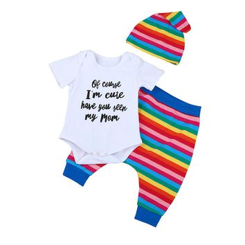 Baby clothes set Toddler Newborn Baby Girl Letter Rompers Jumpsuit Rainbow Pants Outfits 3PCS Set drop shipping