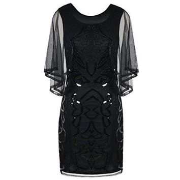 1920s Inspired Sequin Cape Deco Gatsby Dress