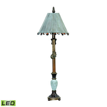 Rustic Tiffany LED Table Lamp in Bronze and Blue Cambridge Bronze,Blue