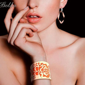 Gold Plated Rose Cuff  Leather Bangles