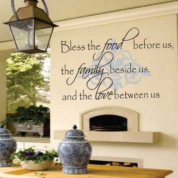 Family Wall Decal  Bless The Food Before Us Decal  by SignJunkies