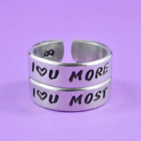 I Love You More / I Love You Most Pair Rings, Mother Daughter Sisters Lovers Ring, Hand Stamped Personalized Jewelry