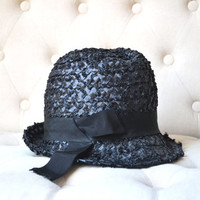 1960s High Crown Hat in Black Woven Straw Mod Style Union Label