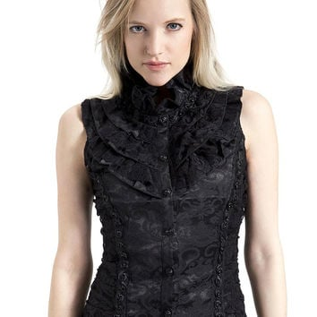 Queen of Darkness High Collar Victorian Top