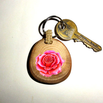 Red Rose Keychain Keyring Rose Flower. Key Ring Wood Slice. Beautiful Unique Key Chain Personalized Quote Name Wood Red Rose Keychain Keyfob