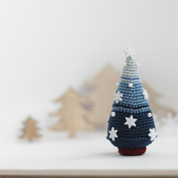 Christmas Tree, Crocheted Christmas Tree, Christmas decoration, Christmas ornament, white snowflakes, blue, nautical, stripped,