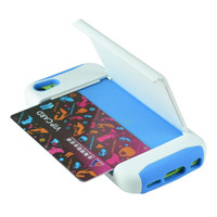 Silicone Credit Card Holder Hybrid Rubber Case w/ Stand for iPhone 5C 5S 5 4 4S