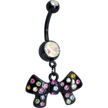 Aurora and Rainbow of Gems Twinkling Black Bow Dangle Belly Ring