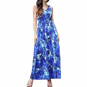 New Arrival Bohemian Fit And Flare Print Sleeveless None Floor-length Tank Empire O-neck Summer Dresses