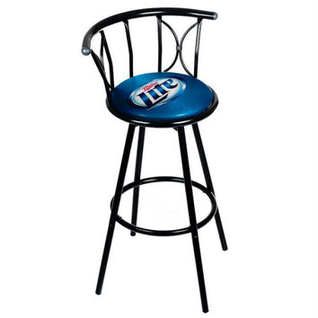 Miller Lite Weatherproof Padded Outdoor Bar Stool  - Black