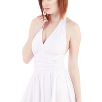 Esther Williams Nautical Seaside Muse Swim Dress in White