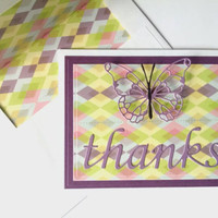 Thank You Card with Die Cut Thanks and Butterfly and Colorful Diamond Paper - Birthday Card - Butterfly Birthday Card  - Thanks Card