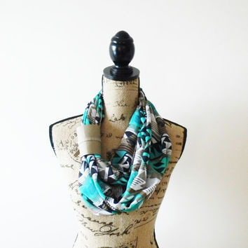Navajo Infinity Scarf/ Tribal Chiffon Scarf/ Turquoise Aztec Print/ Leather Band/ Summer Scarf/ Circle Scarf/ Eternity Scarf with Cuff