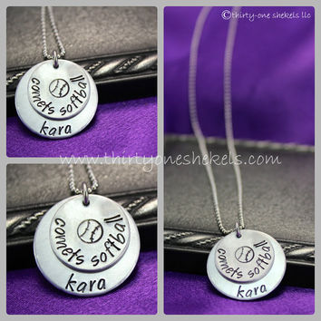 Hand Stamped Personalized Custom Softball Necklace - perfect for players or softball moms
