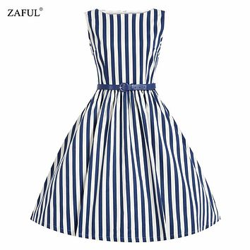 ZAFUL Summer Women Dress Retro Swing Stripe Audrey Hepburn 50s Vintage Robe Rockabilly Casual Ball Gown Dress Feminino Vestidos