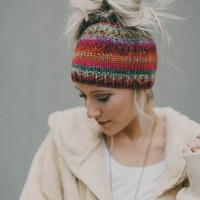 Rainbow Messy Bun Beanie - Red