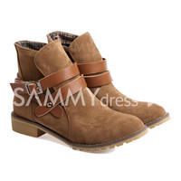 British Style Short Boots With Buckle and Round Toe Design