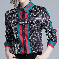GUCCI Autumn New Popular Women Casual Retro Print Long Sleeve Lapel Shirt Top