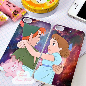 Peter Pan and Wendy in galaxy couple for iPhone 4, iPhone 4s, iPhone 5, Samsung Galaxy S3, Samsung Galaxy S4 Case