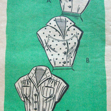 1950s Fitted Sleeveless Blouse Pattern Marian Martin 9379 Bust 36 Sz16