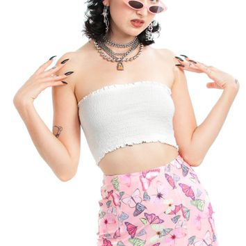 Vintage Y2K Deadstock Angel Smocked Crop Top - One Size Fits Many
