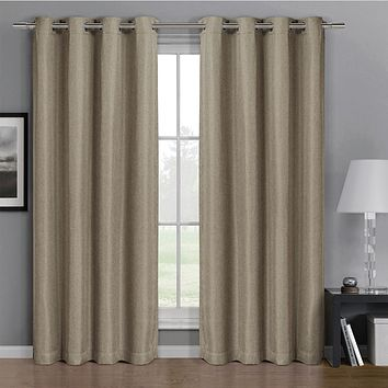 Beige 52x63 Gulfport Faux Linen Blackout Weave Grommet Window Curtain Panels