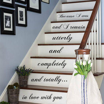 Wall Decals Quote In Love With You... Staircase Stairway Stairs Words Phrase Home Vinyl Decal Sticker Kids Nursery Baby Room Decor kk479