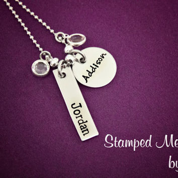 Kids' Names and Birthstones Necklace - Hand Stamped Mommy Jewelry - Stainless Steel -  Personalized Mother', Grandmother, Godmother Necklace