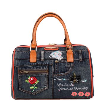 RILEY DENIM EMBROIDERY BOSTON BAG - NEW ARRIVALS