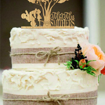 Custom Wedding Cake Topper Mr and Mrs with a Motorcycle - Rustic Wedding Cake Topper - Personalized Monogram Cake Topper - Silhouette topper