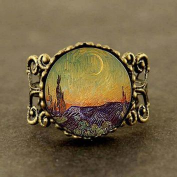 steampunk Van Gogh Almond Branch in Bloom Fine Art Ring Nature Gift Women Men doctor who charming new wedding