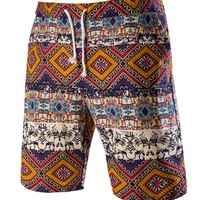 Casual Retro Drawstring Tribal Printed Straight Men's Short