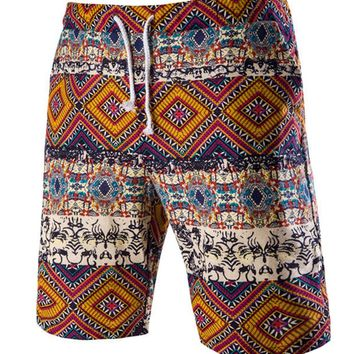 Streetstyle  Casual Retro Drawstring Tribal Printed Straight Men's Short