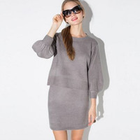 Gray Lantern Sleeve Ribbed Pullover Sweater