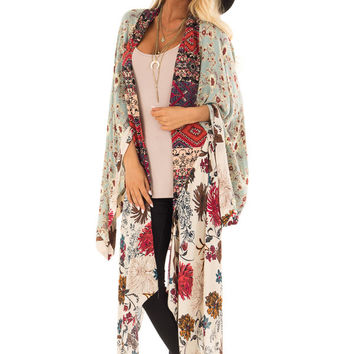 Dusty Blue and Vanilla Long Kimono with Floral Print