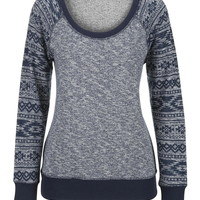 Patterned Sleeve Scoop Neck Sweatshirt - Blue
