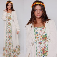 Vintage 70s Boho Wedding Dress Long FLORAL Hippie Maxi Prairie Dress