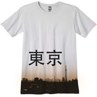 Tokyo Skyline Skytree Japan T-Shirt Japanese photo hand silkscreened