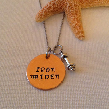 Iron maiden necklace, pumping iron, dumbbell necklace, working out, fitness, crossfit, exercising, gifts for fitness