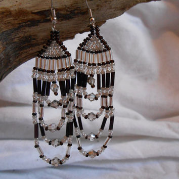 Hand Beaded Earrings, Brick Stitch, Beautiful Black and Silver Czech Glass Seed Beads, Swarovski Crystals, Handmade