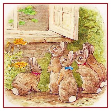 Peter Rabbit Family At Farmhouse Door inspired by Beatrix Potter Counted Cross Stitch Pattern