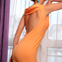 Handmade Backless Little Melon Dress Lycra mini spandex elastic tricot spring summer party evening Melon Color dress