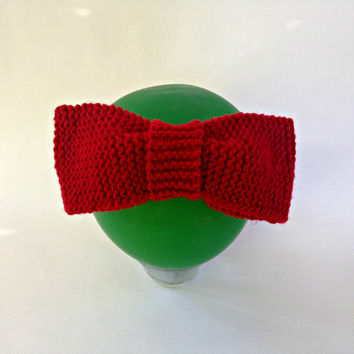 red headband, big bow headband, knit ear warmer, knit accessories, fall headband, autumn headpiece, bow headwrap, womens clothing,