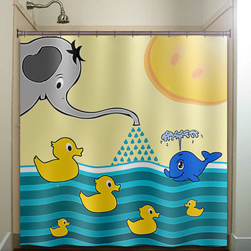 elephant whale rubber ducky boy children shower curtain bathroom decor fabric kids bath white black custom duvet cover rug mat window