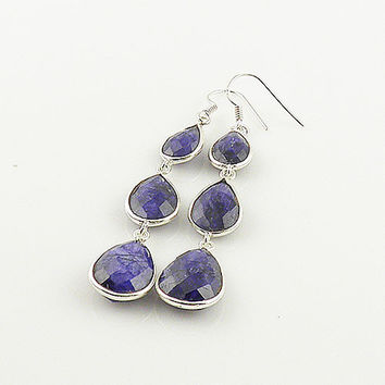 Sapphire Dangle Sterling Silver Earrings