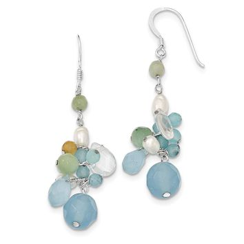 Sterling Silver Blue Lace Agate/Simulated Opal/Amazonite/Cultured Pearl Earrings