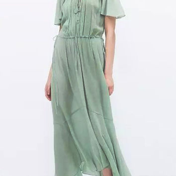 Light Green Off Shoulder Pleated Maxi Dress