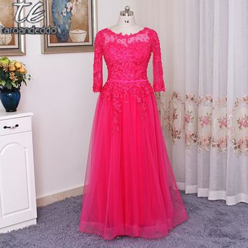 O-neck Long Sleeves Rose Tulle Floor Length Plus Size Prom Dress Corset Long Crystals Evening Dress vestido de festa longo